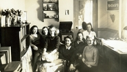 Ruth Nagel Jones with friends in dorm room in 1940s