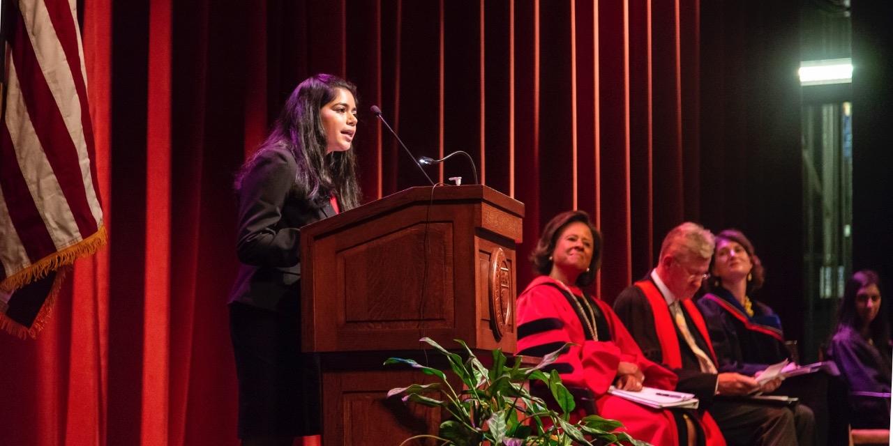 Saafia Masoom '20, College Government interim president, addressed her peers.
