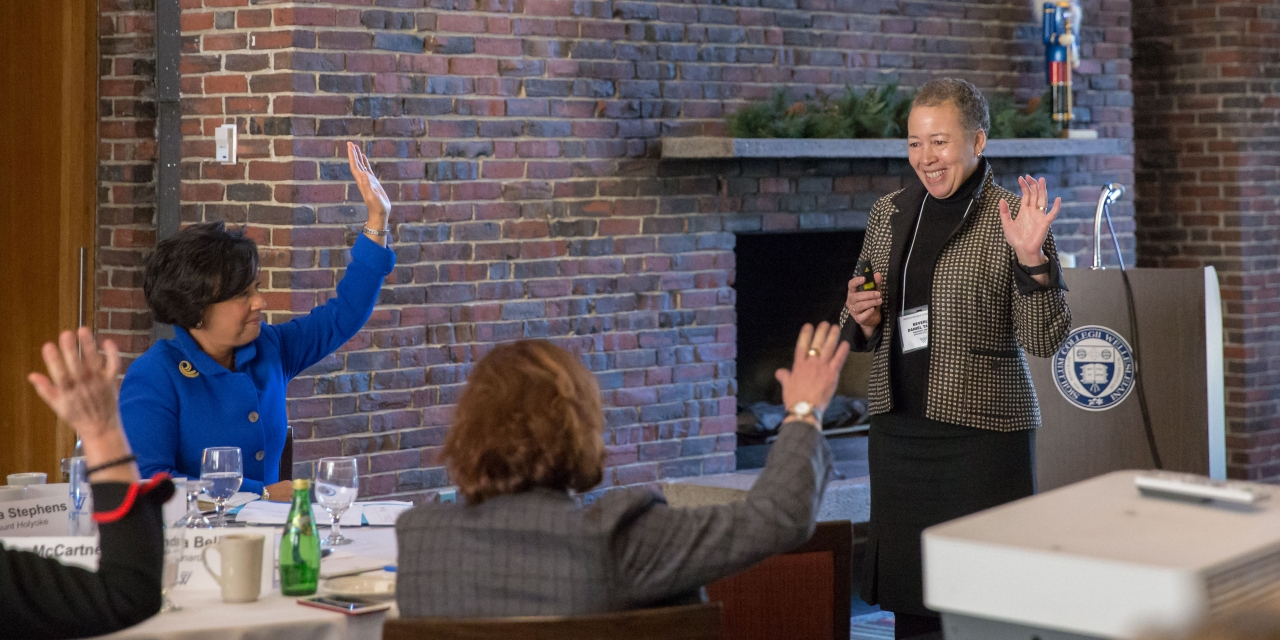 Beverly Daniel Tatum, author and president emerita of Spelman College leads a workshop with senior leaders, including President