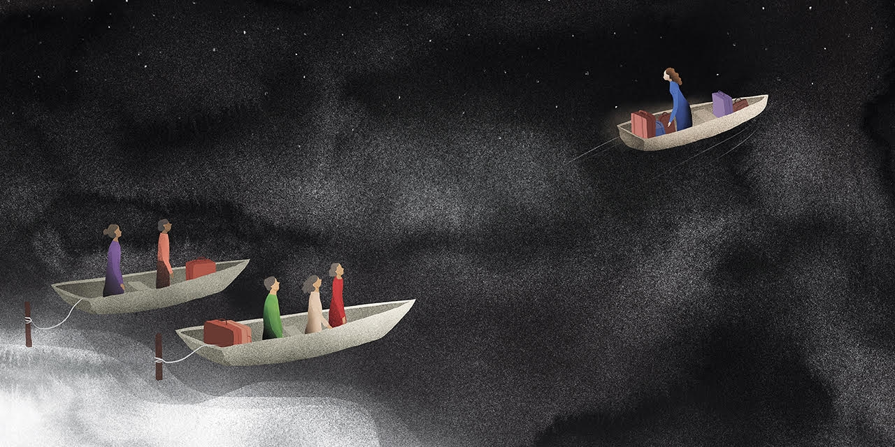 An illustration of people sitting in three boats on a dark ocean.
