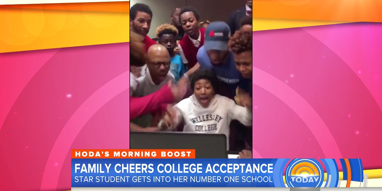 Jada Wiltz reads on a computer that she was accepted to Wellesley and celebrates with her family and friends.