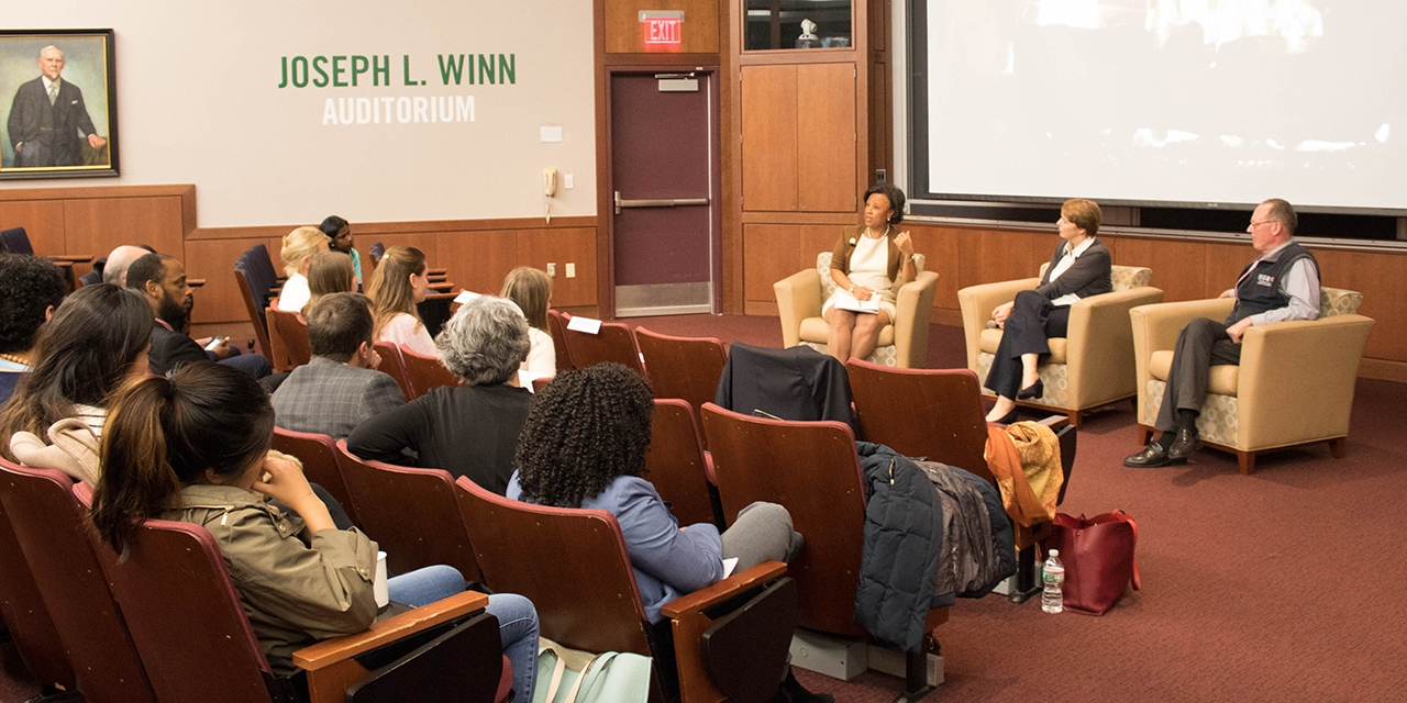 President Paula A. Johnson moderates a discussion with Paul Farmer and Ophelia Dahl, Partners in Health founders.