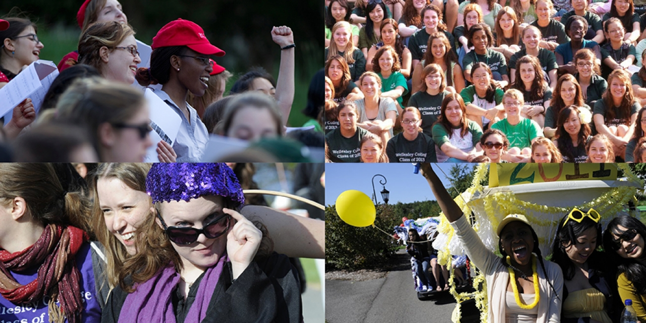 Wellesley alumnae display their class colors at reunions throughout the years.
