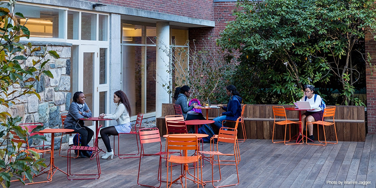 Weather permitting, students can enjoy the outdoors in the renovated Freeman courtyard.