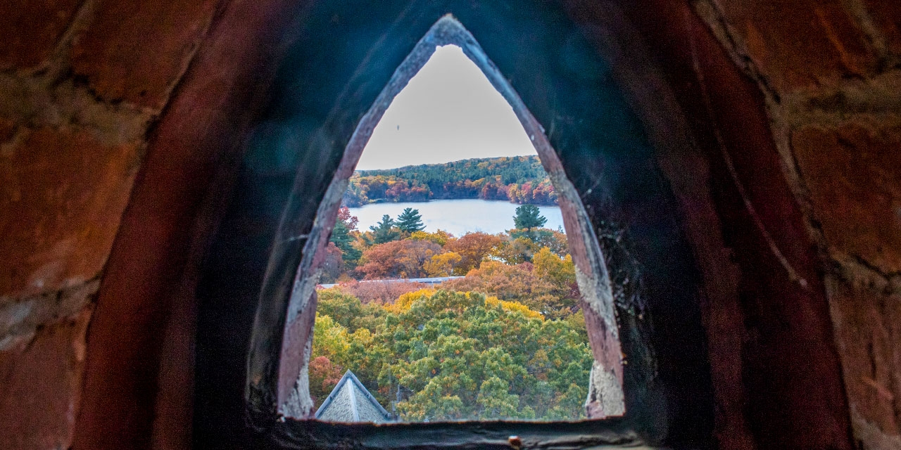 A view of lake waban and fall foliage from Galen Stone Tower