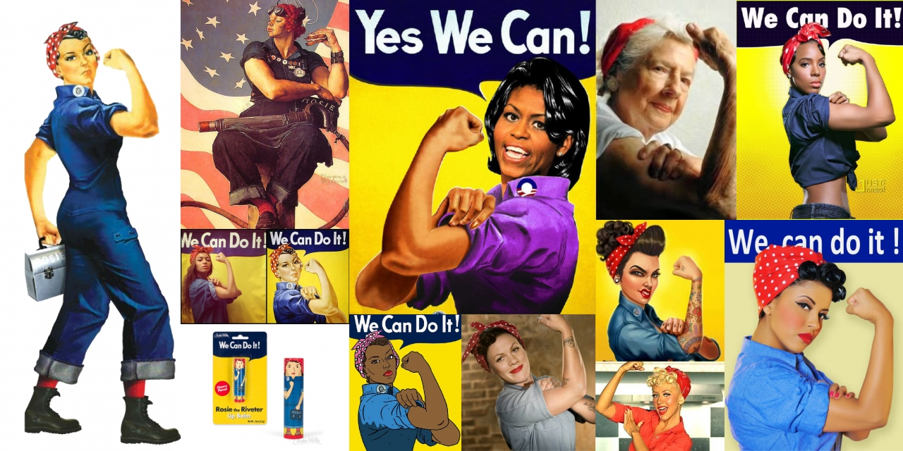 The original Rosie the Riveter and modern day takes on the iconic pose.