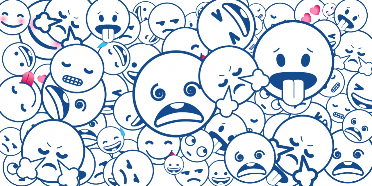 Dozens of emoji faces depicting fear, disgust, happiness, sadness, frustration.