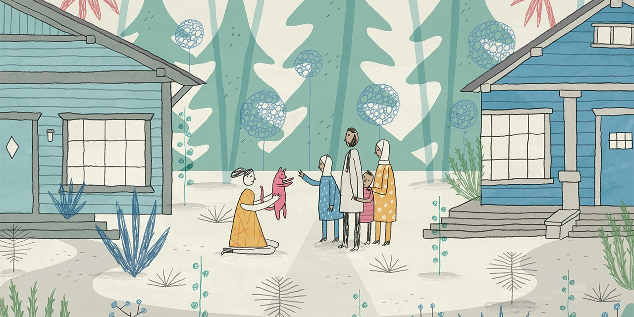 Illustration of a woman and her dog meeting her neighbors, a family from Syria