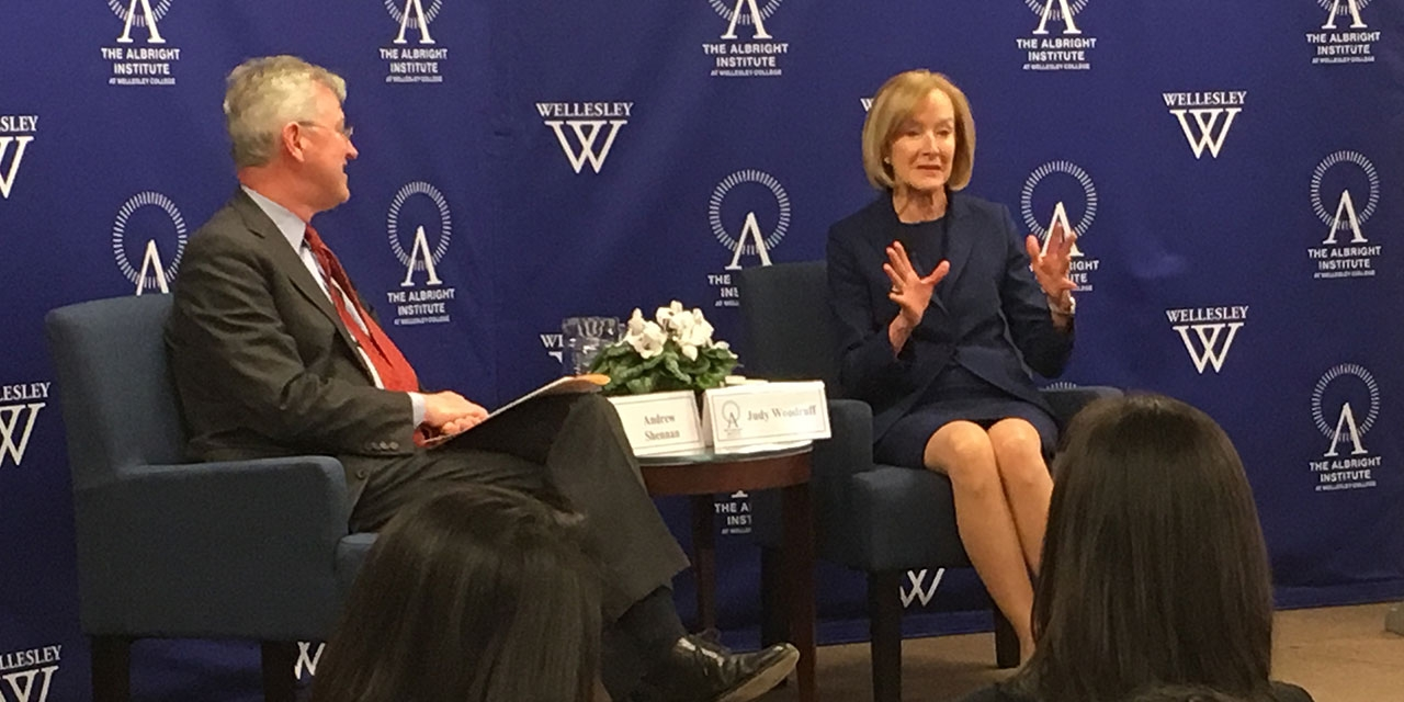 Judy Woodruff sits in conversation with Provost Andy Sheenan