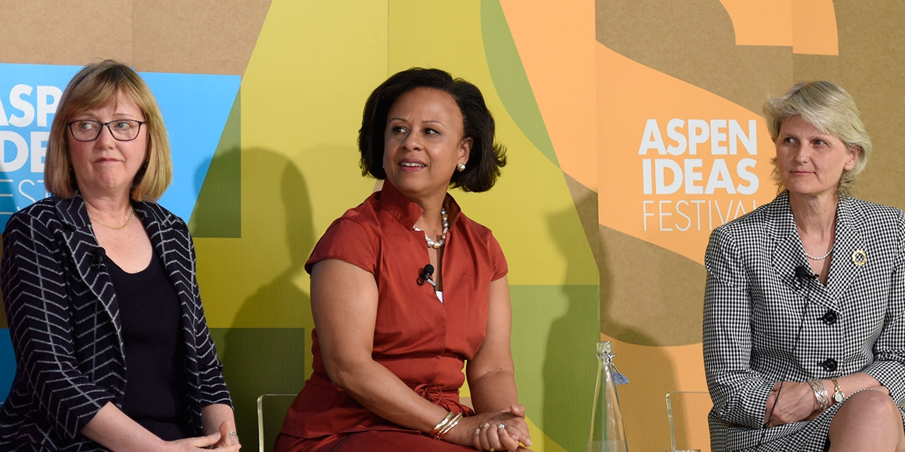 College presidents Kathleen McCartney, Paula Johnson, and Elizabeth Bradley at the Aspen Ideas Festival