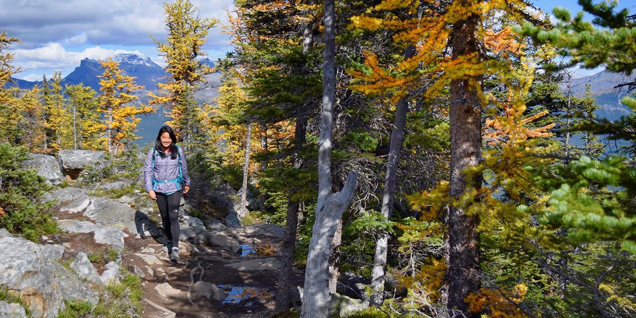Veronica Lin walks through a forest