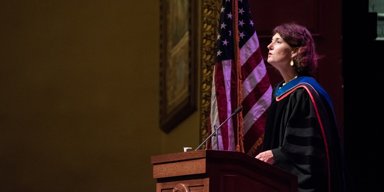 Tiffany Steinwert offers a welcoming invocation to kick off the Convocation ceremony.