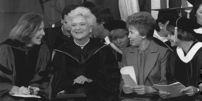 Wellesley College President Nannerl Overholser Keohane '61, Barbara Bush, and Rasia Gorbachev at commencement in 1990.