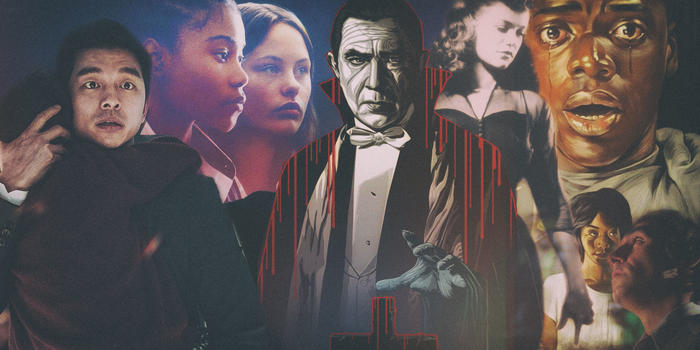 collage of horror film scence