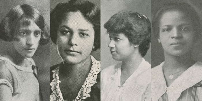 Four black and white portraits of early African American students at Wellesley