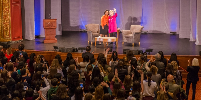 Wellesley's Campus Community Gathers to Hear Hillary Rodham Clinton '69 in Conversation with President Paula Johnson