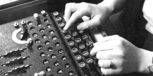 Enigma decoding machine in use, 1943.