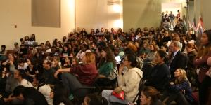 Debate watch party in Knapp Atrium