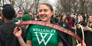Laurel Wills '17 Claims the Top (Wet) Prize in the 122nd Wellesley Hooprolling Contest
