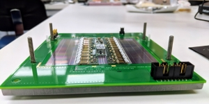 A module reception station for a particle physics detector with its protective case removed.