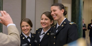 Wellesley graduates Anna Page, Hailey Webster, and Caroline Bechtel were promoted from ROTC cadets to second lieutenants in the army