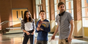 Laura Harrier, Tom Holland and director Jon Watts on the set of Columbia Pictures' SPIDER-MAN™: HOMECOMING