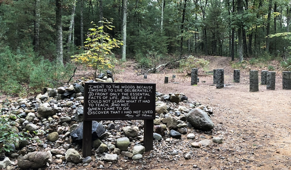 The site of Henry David Thoreau's cabin at Walden Pond in Concord, Mass.