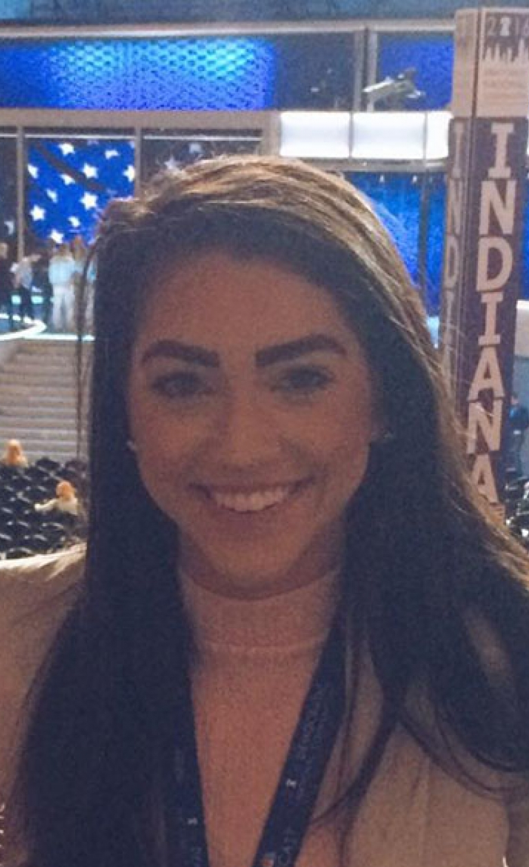 Arielle Mitropoulos '19 on the floor of the Democratic National Convention