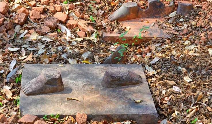Feet of the 10th-century Hindu warriors Bhima and Duryodhana in Koh Ker, Cambodia.