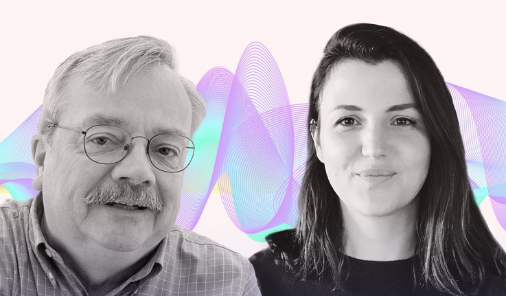 A head shot of a male professor and female alumna with a sound wave behind them
