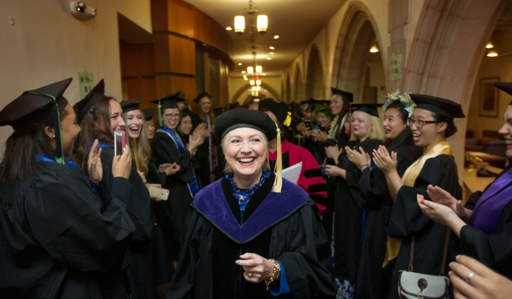 Hillary Rodham Clinton '69 processess by the Class of 2017