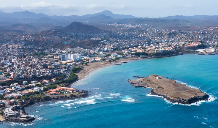 Aerial view of Praia, the capital of Cape Verde, located on Santiago island.