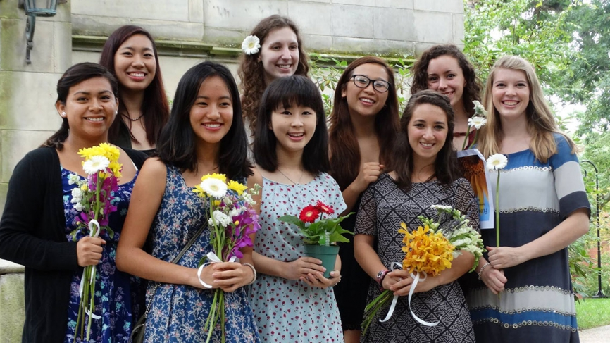 Students pose for a photo outside of the chapel.
