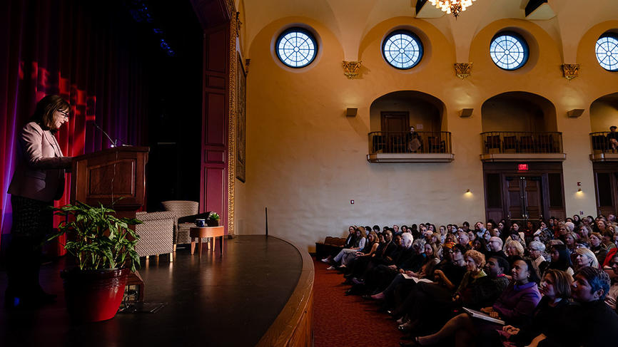 Mayer addresses a sold out crowd in alumnae hall
