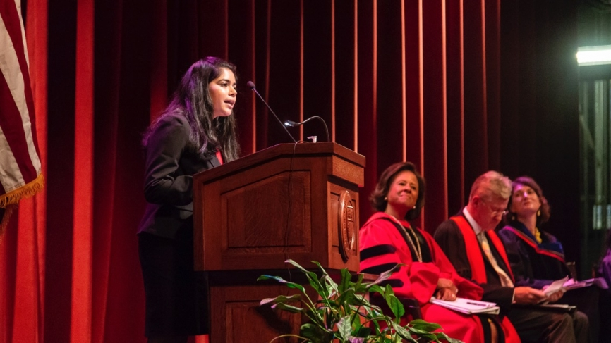Saafia Masoom '20, College Government interim president, addressed her peers.