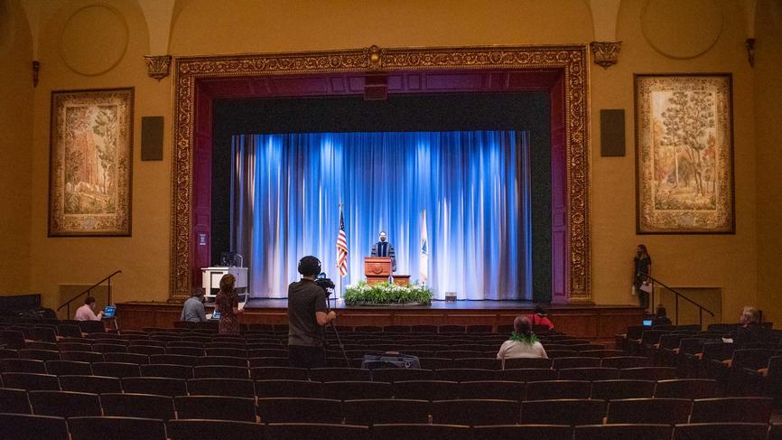 wide shot of an auditorium