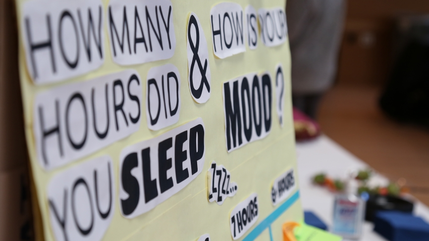 """A poster that says, """"How many hours do you sleep? and How is your mood?"""""""