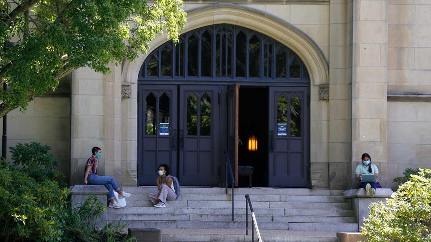 students social distancing on campus