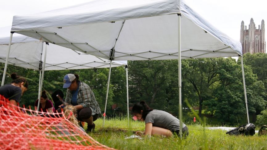 Students work at a dig site with the Galen Stone Tower looming overhead.