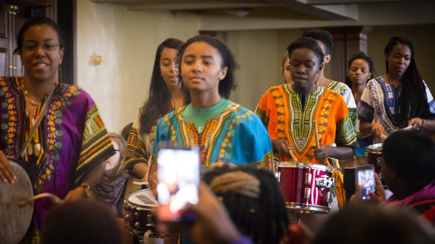 Wellesley's Yanvalou Drum and Dance Ensemble perform traditional African music with drums.