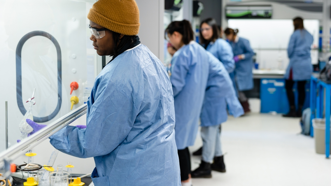 Students work under a hood in a lab at Wellesley.
