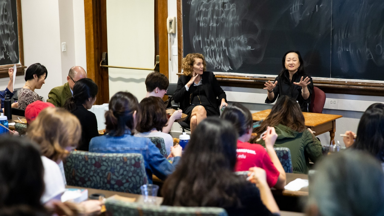 Author Min Jin Lee speaks to a classroom filled with students.