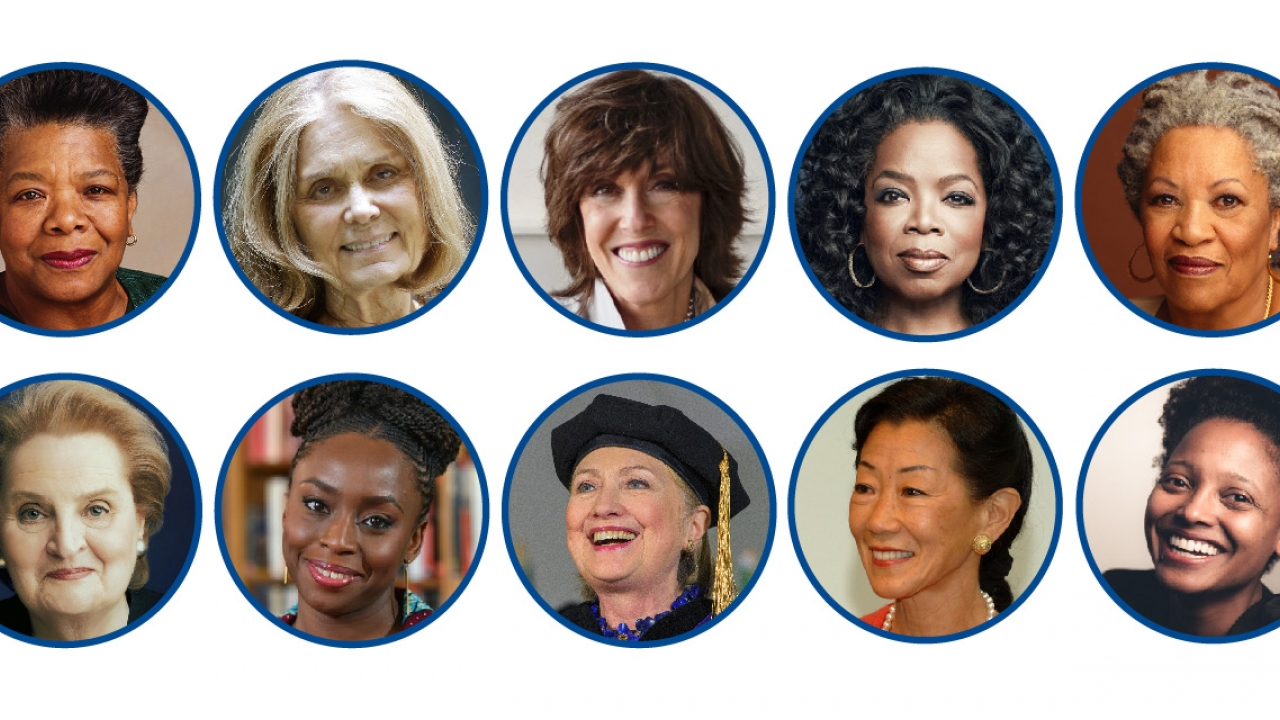 The head shots of 10 of Wellesley's former commencement speakers