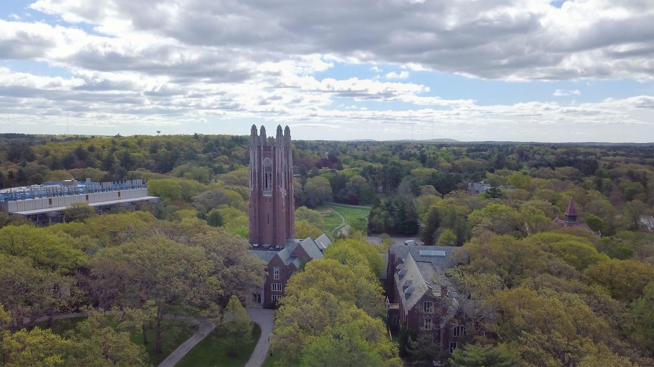 aerial campus view of Galen stone tower