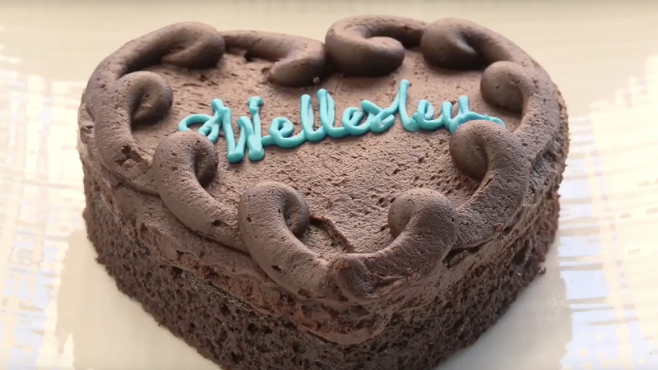 Wellesley Fudge Cake made in the shape of a heart.