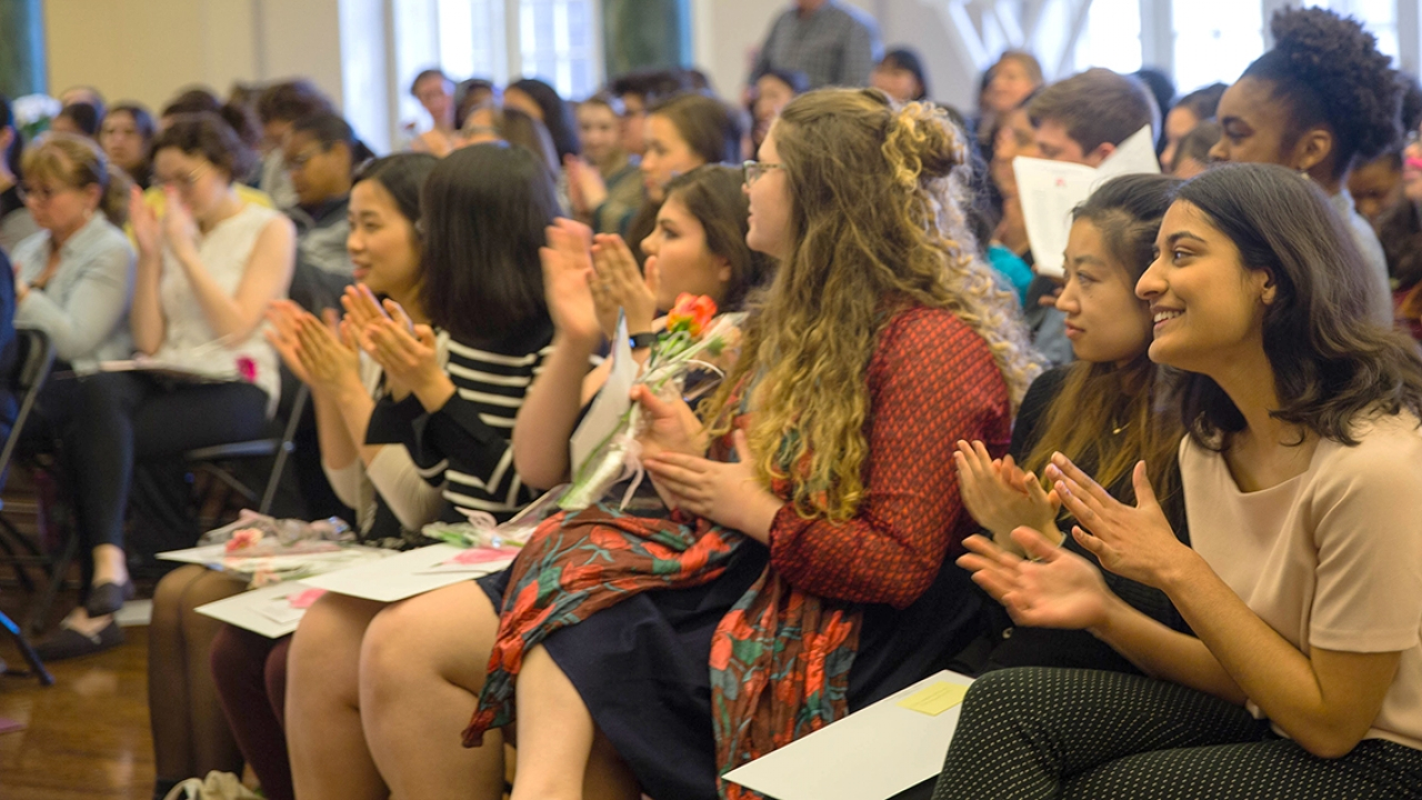 Students sit in the audience at the Camellia Awards ceremony.
