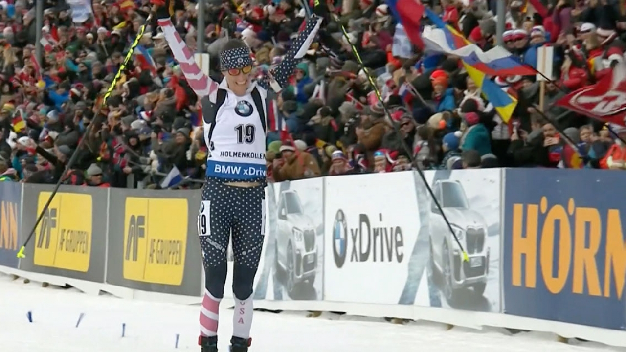 Clare Egan skis into the finish line.