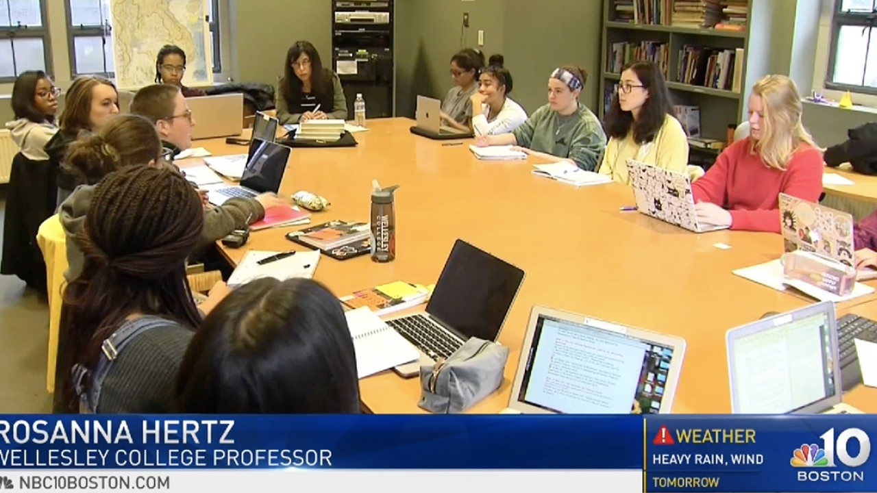 A screen shot from an NBC Boston broadcast that depicts a Wellesley seminar class discussion.