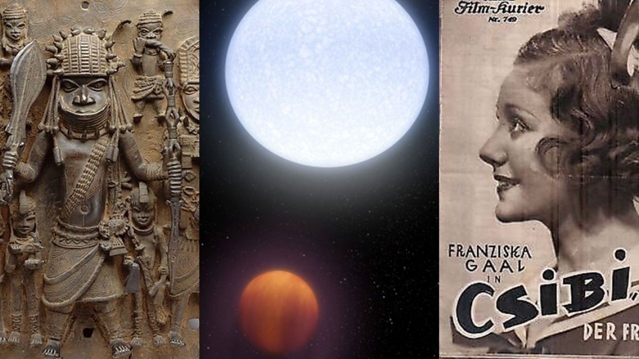An old movie poster, an image of the moon and mars and ancient etchings of soldiers