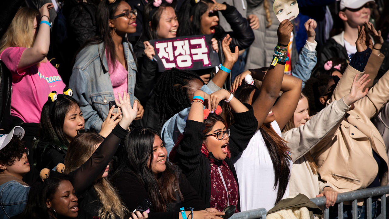 Fans cheer as K-Pop group BTS performs in Central Park, May 15, 2019 in New York City